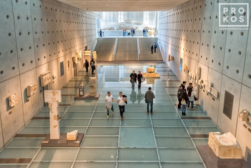 An interior view of the Acropolis Museum in Athens, Greece