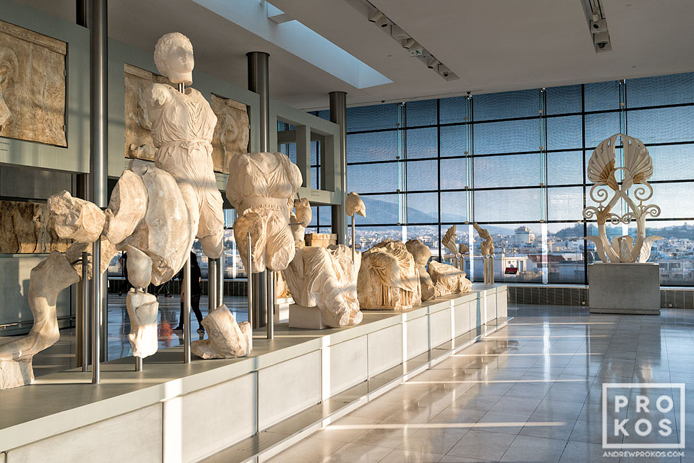 A view of the interior of the Acropolis Museum Parthenon Gallery in Athens, Greece