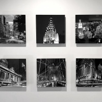 A set of six black and white New York City view photos with acrylic float mounts by photographer Andrew Prokos.