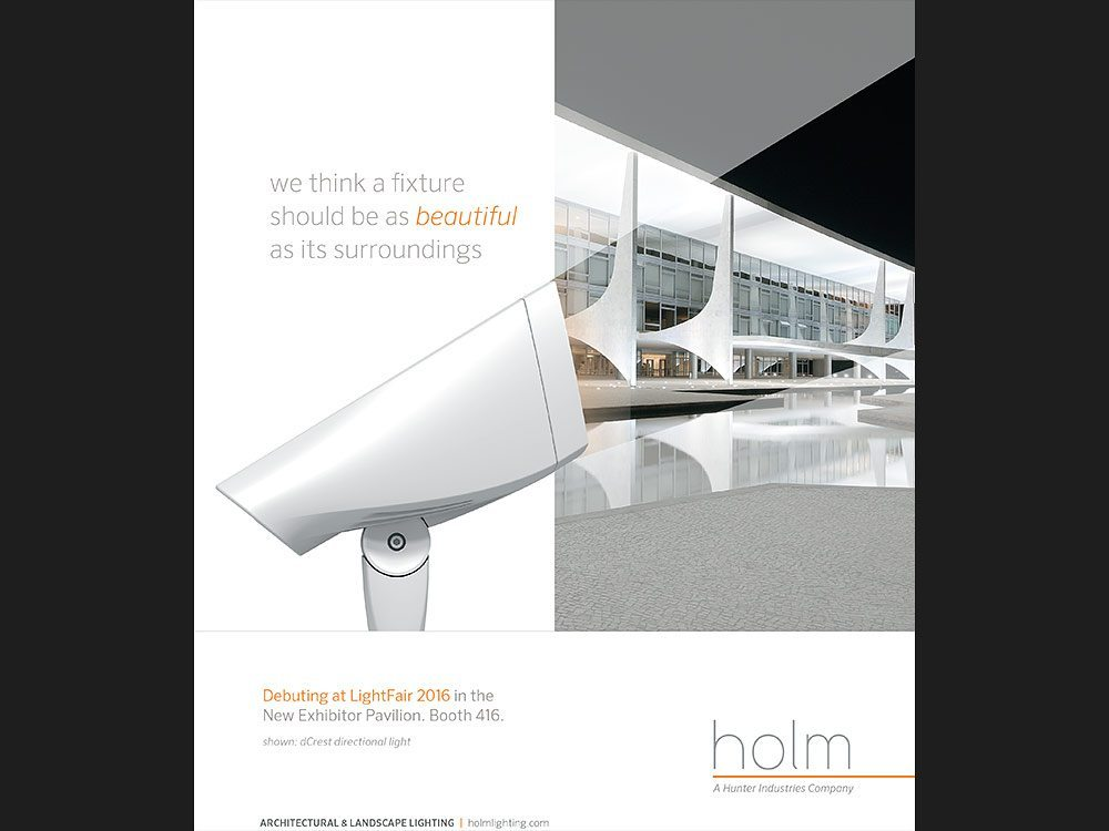 Advertisement for Holm Lighting using Andrew's architectural photography.
