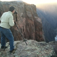 Photographer Andrew Prokos shooting in Black Canyon of the Gunnison National Park Colorado