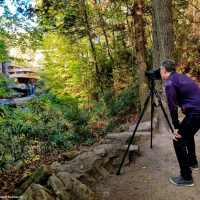 Photographer Andrew Prokos on photo shoot at Fallingwater in Pennsylvania
