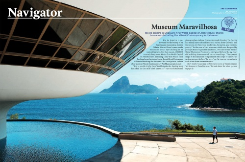 An article in the January 2020 issue of United Airlines Hemispheres Magazine featuring photography of MAC Niteroi museum by photographer Andrew Prokos