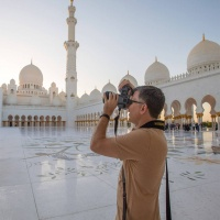 Photographer Andrew Prokos on a photo shoot at Sheikh Zayed Grand Mosque in Abu Dhabi, UAE