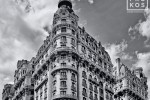 A wide angle black and white architectural photo of the Ansonia building on Manhattan's Upper West Side, New York City