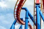 "A view of the Superman rollercoaster, from the fine art architectural photo series ""The Architecture of Amusement"""