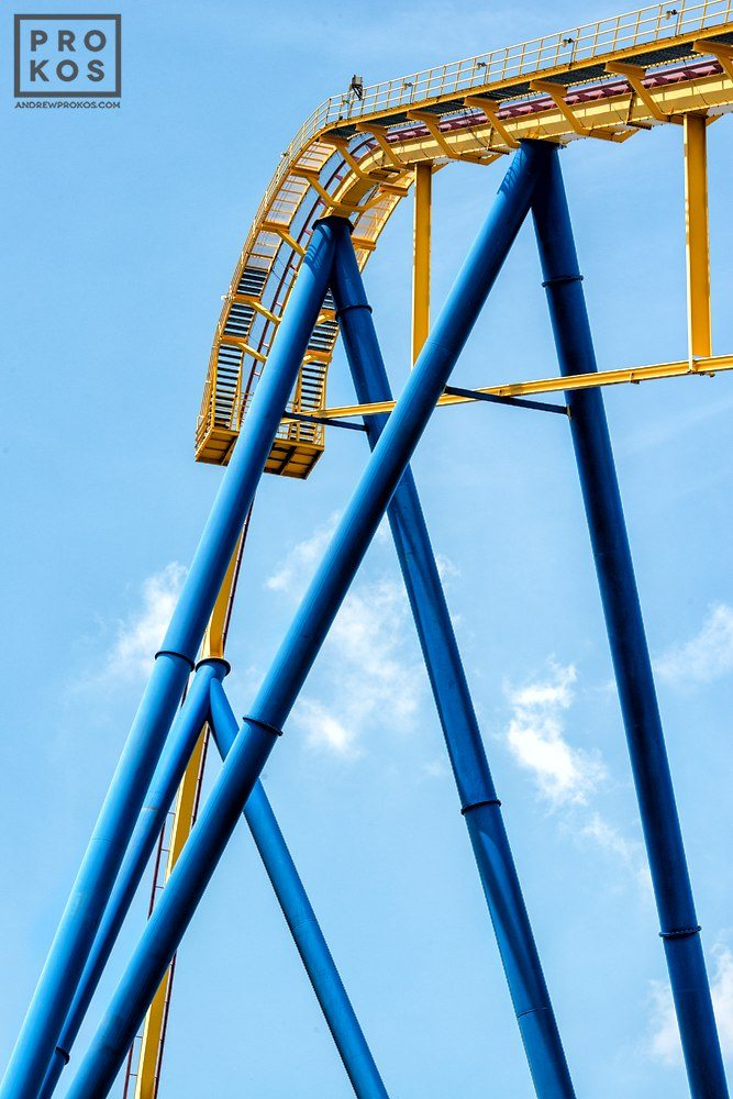 "Nitro amusement park ride, from the fine art architectural photo series ""The Architecture of Amusement"""