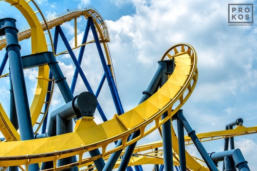 "A view of the Batman rollercoaster, from the fine art architectural photo series ""The Architecture of Amusement"""