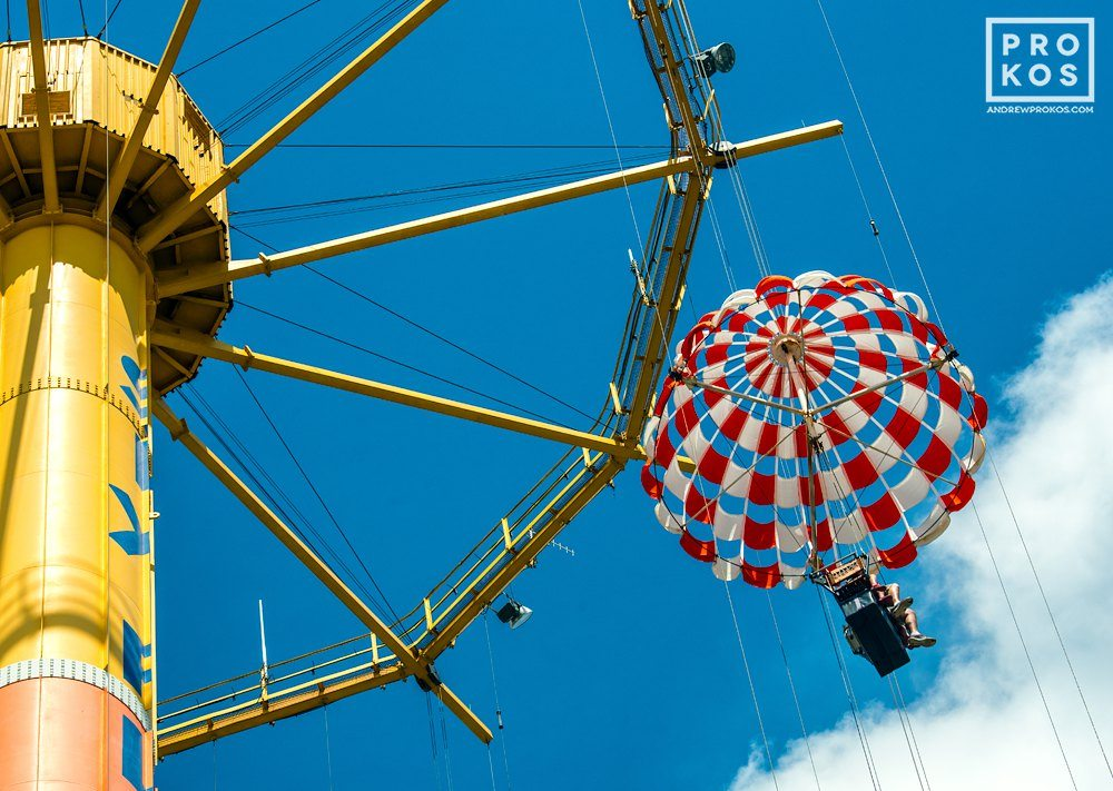 "Parachute Drop amusement park ride, from the fine art architectural photo series ""The Architecture of Amusement"""