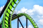 "A detailed view of the Green Lantern rollercoaster from the series ""The Architecture of Amusement"", which captures the architecture found in amusement parks."