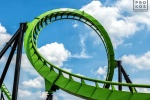 "A view of the Green Lantern rollercoaster, from the fine art architectural photo series ""The Architecture of Amusement"""