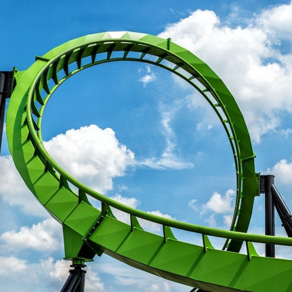 A view of the Green Lantern rollercoaster, from the fine art architectural photo series