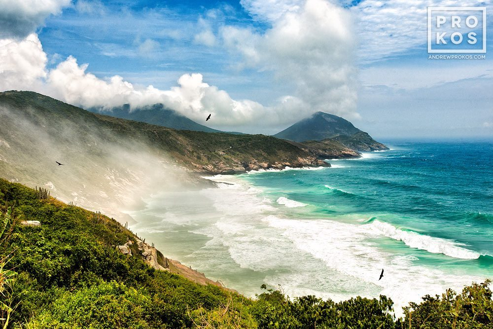 A landscape showing one of the many promontories of Arraial do Cabo, Brazil and the Atlantic Ocean.