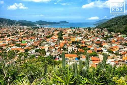 A fine art photo of landscape view of the town of Arraial do Cabo, Brazil.