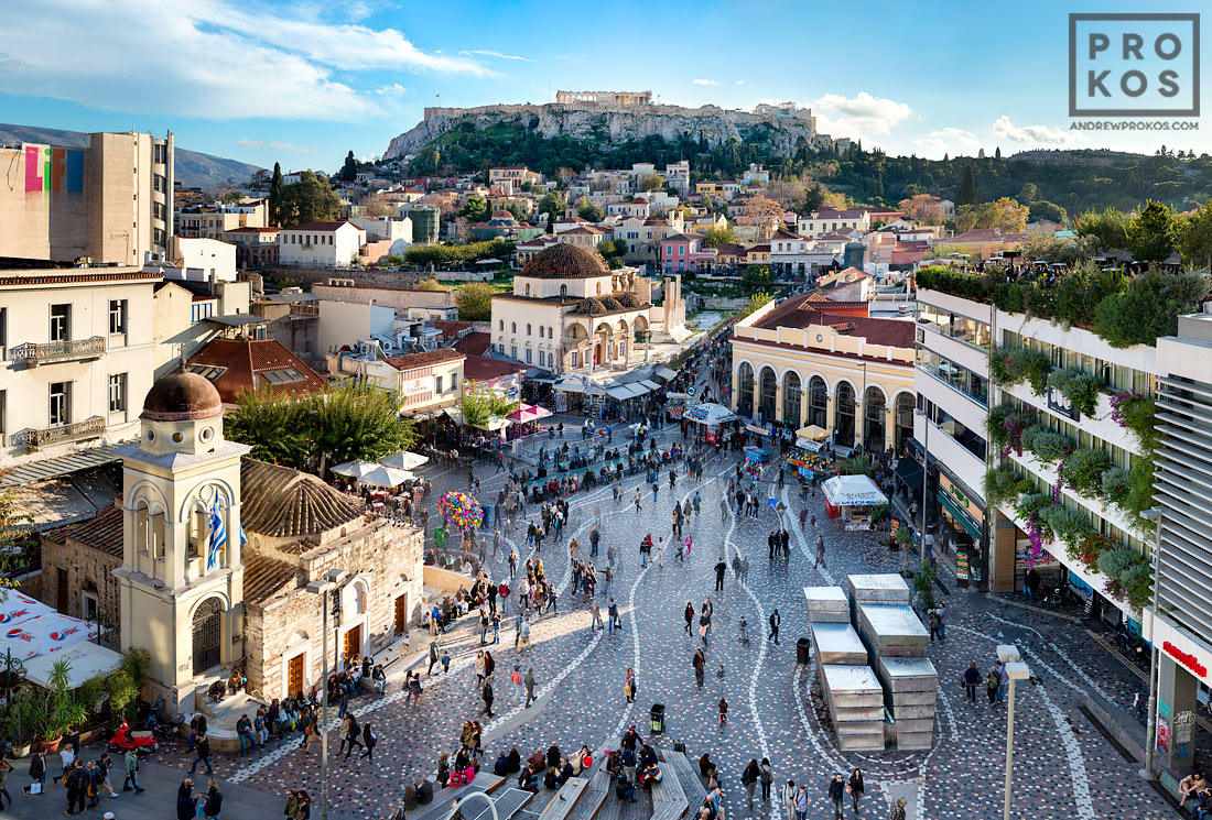 A view of the Acropolis and the Parthenon from the Monastiraki neighborhood in Athens, Greece.