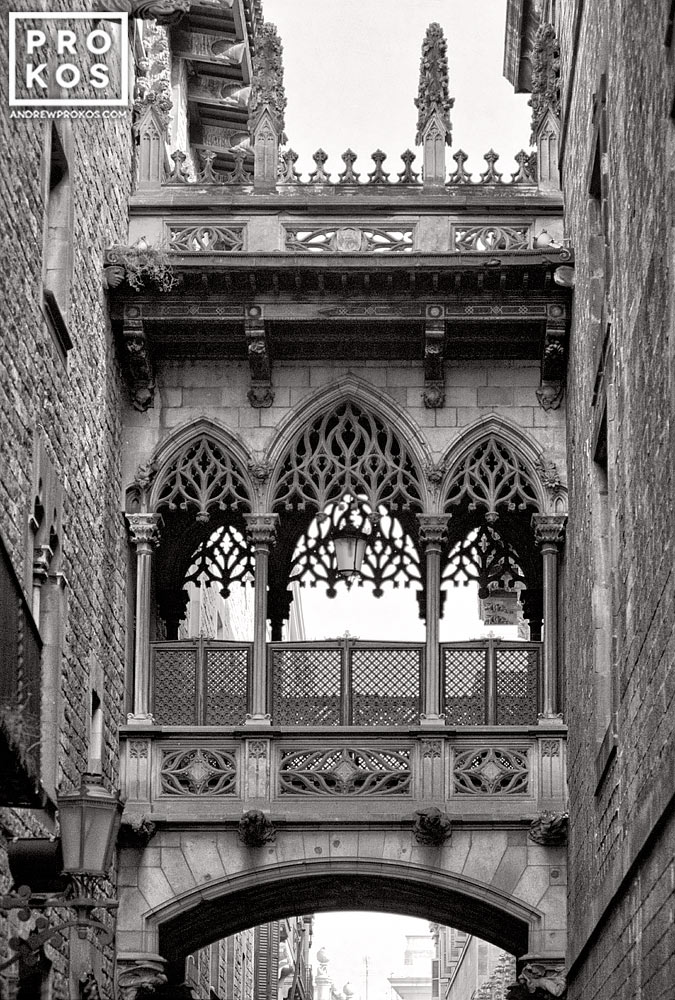 The Bridge of Sighs in the Gothic Quarter of Barcelona, Spain