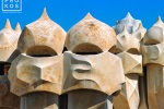 A fine art architectural photo of the Gaudi chimneys on the rooftop of the Casa Mila (La Pedrera), Barcelona, Spain