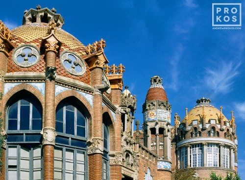 A color fine art photo of the fanciful architecture of Gaudi's Sant Pau Hospital, Barcelona, Spain