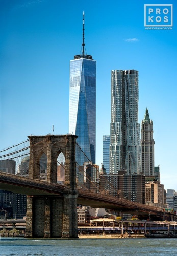 An ultra high-definition view of the Brooklyn Bridge and the skyscrapers of Lower Manhattan, including 1 World Trade Center and 8 Spruce Street during the day. Large-format prints of this photo are available up to 72 inches in height.