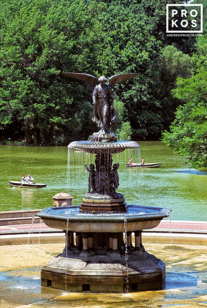 A landscape photo of the famous Angel Fountain at Bethesda Terrace in New York's Central Park
