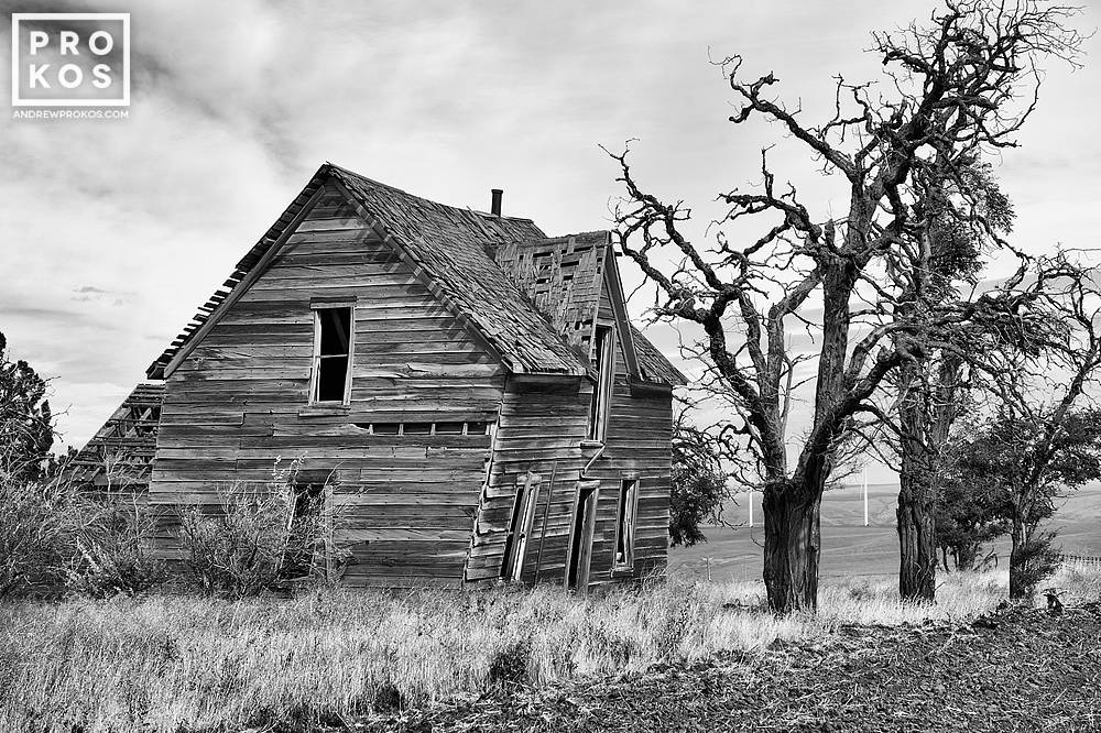 A black and white fine art photo of an abandoned wooden farmhouse found in Biglow Canyon, Oregon.