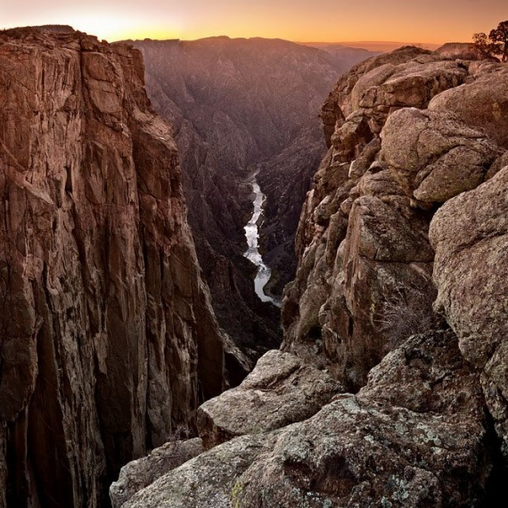 A fine art landscape photo of Black Canyon of the Gunnison River at sunset, Colorado