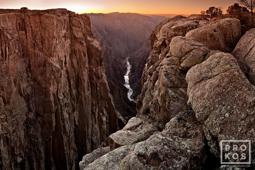 A view of the Black Canyon of the Gunnison at sunset, Colorado