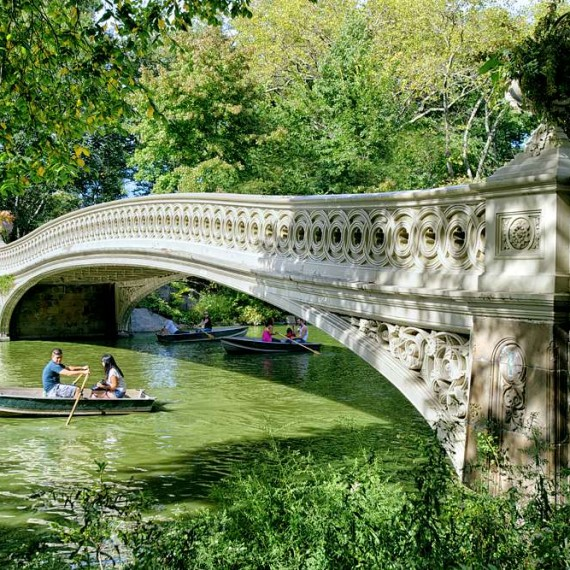 A fine art landscape photo of Bow Bridge in Summer, Central Park, New York City.