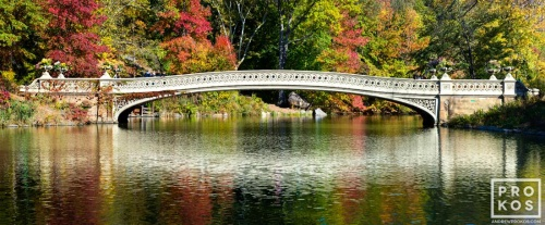 "An ultra high-definition panoramic landscape photo of Bow Bridge in Autumn, Central Park, New York City. Large-scale fine art prints of this photo are available up to 96"" wide."