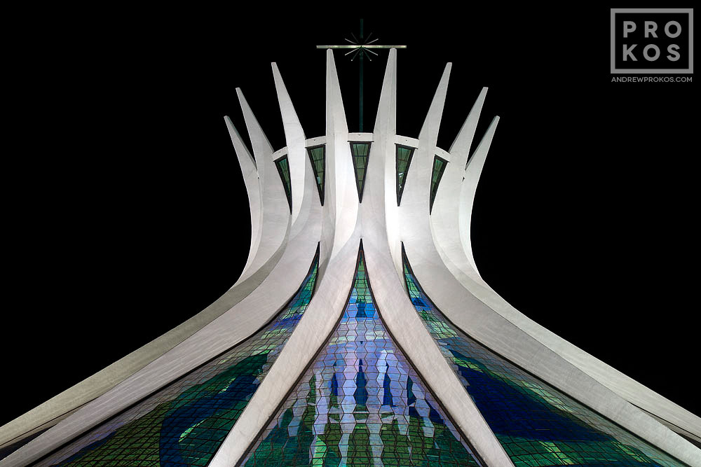 A long-exposure view of the Cathedral of Brasilia at night, Brasilia, Brazil. From the award-winning fine art architecture series 'Niemeyer's Brasilia'.
