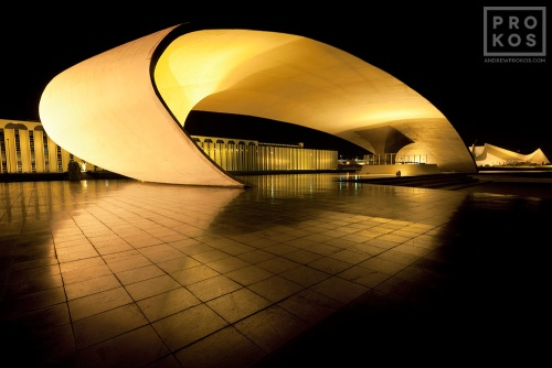 A long-exposure view of the Praça Duque de Caxias at night at night, Brasilia, Brazil. From the award-winning fine art architecture series 'Niemeyer's Brasilia'