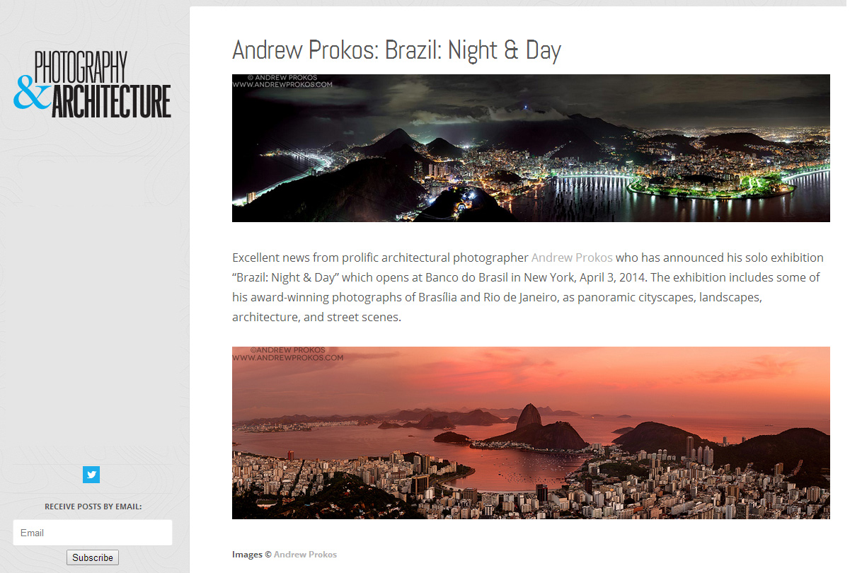 Photography & Architecture article on Andrew Prokos's exhibition Brazil: Night & Day