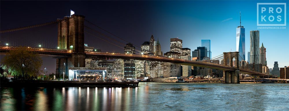 A panoramic skyline of the Brooklyn Bridge and Manhattan from Andrew's Night & Day series.