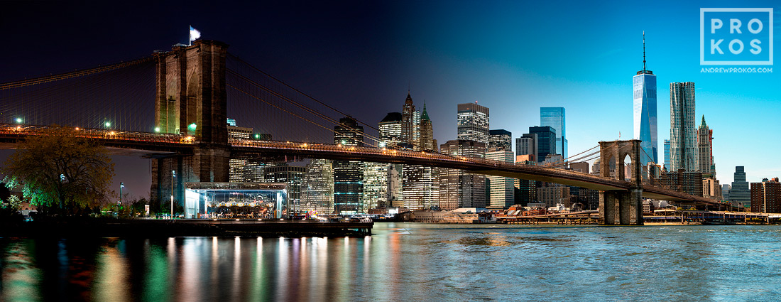 Night & Day - Brooklyn Bridge and Lower Manhattan