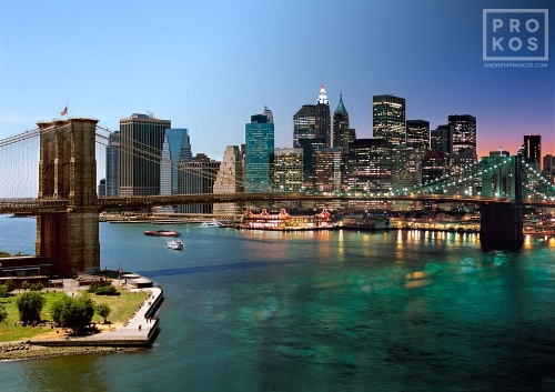 A skyline photo of the Brooklyn Bridge and Manhattan from Andrew's 'Night & Day' series.