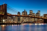 A panoramic photograph of the Brooklyn Bridge and Lower Manhattan skyline at twilight