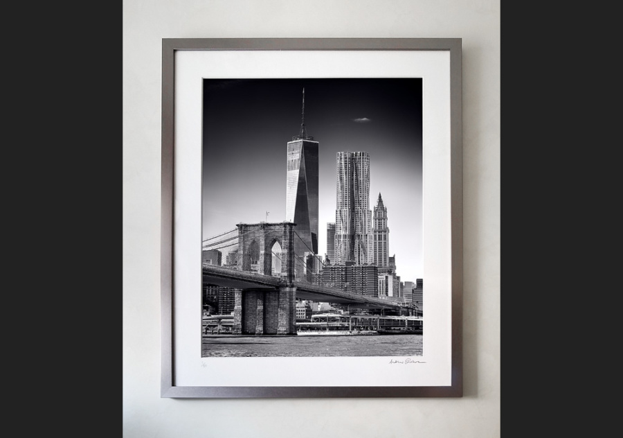 Brooklyn Bridge and Lower Manhattan Skyscrapers - 36x30 inch limited edition print in gunmetal grey solid wood frame and 8-ply archival mat