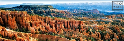 A panoramic landscape of Bryce Canyon from Sunset Point in the morning