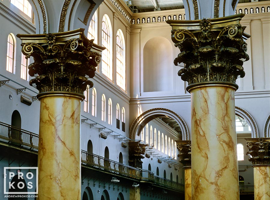 An architectural photo of the interior of the National Building Museum and its colossal columns, Washington DC