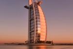 A high-definition fine art photo of the Burj al Arab tower at dawn, Dubai, UAE