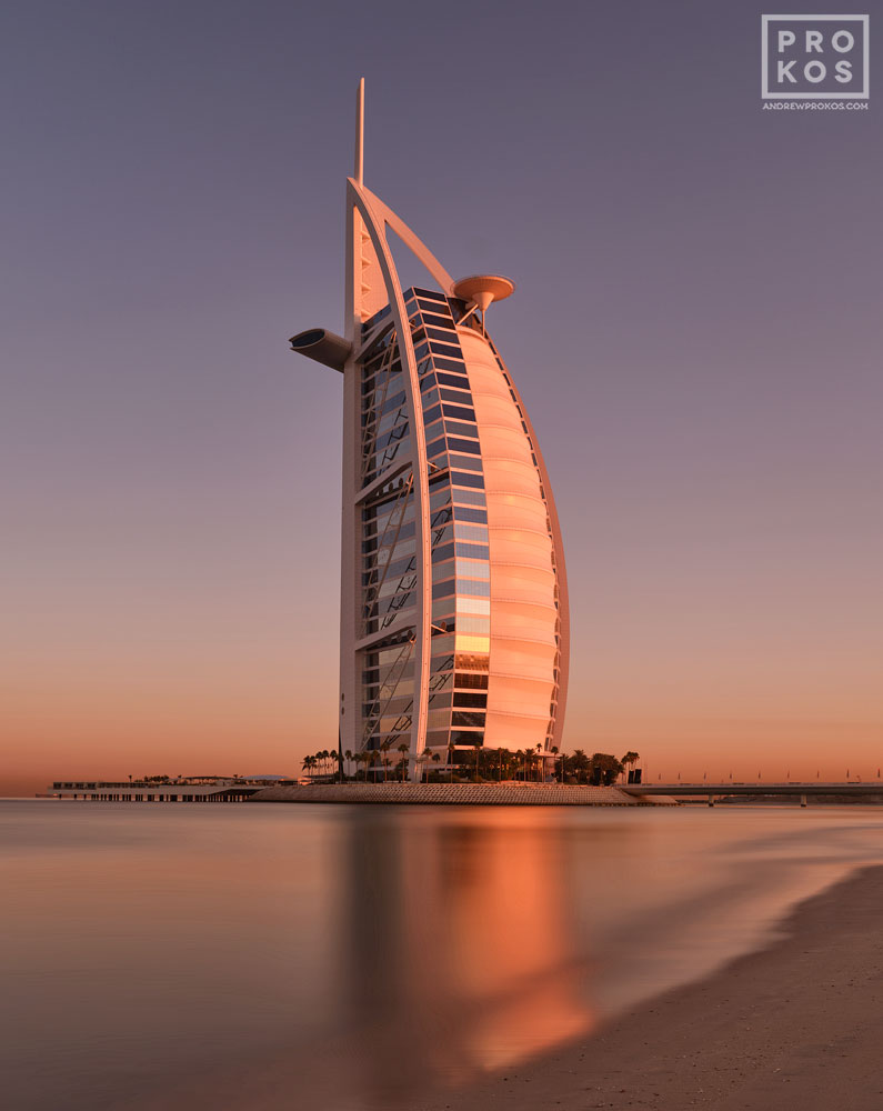 "A five minute long-exposure photo of the Burj al Arab tower taken at dawn, Dubai, UAE. Fine art prints of this photo are available up to 60"" in height."