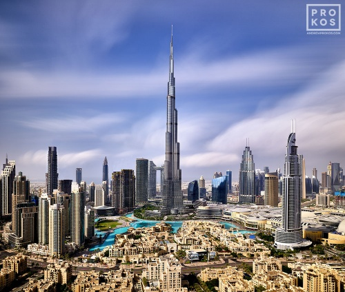 View of Burj Khalifa and Downtown Dubai - Long Exposure Photograph