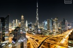 A long-exposure fine art photo of Burj Khalifa and Dubai at Night