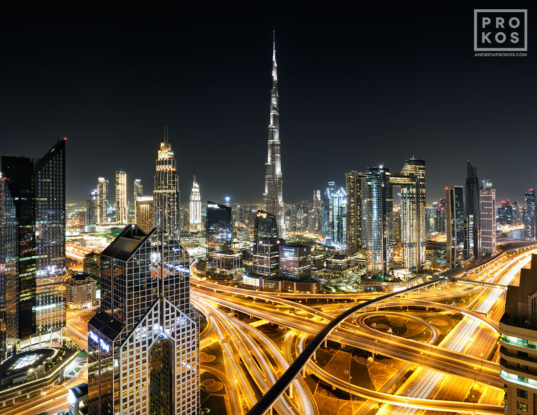 A long-exposure fine art photo of Burj Khalifa and Dubai at night, United Arab Emirates. High-definition fine art prints of this photo are available up to 90 inches in width.