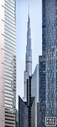 A vertical panoramic view of the Burj Khalifa tower in Dubai, United Arab Emirates