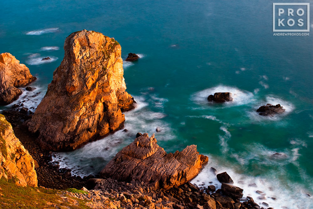 A view of the Atlantic Ocean from Cabo da Roca, the Western-most point in Portugal and Europe, at dusk