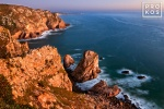 A landscape photo of the Atlantic Ocean at dusk from Cabo da Roca, the Western-most point in Portugal and Europe.