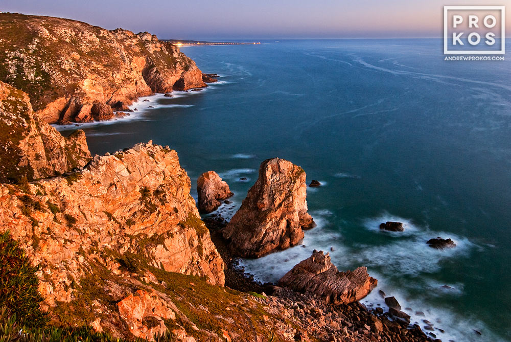 A view of the Atlantic Ocean at dusk from Cabo da Roca, the Western-most point in Portugal and Europe.