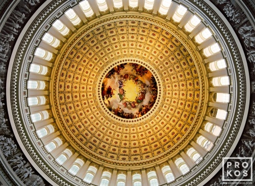 A fine art architectural photo of the U.S. Capitol rotunda interior, Washington D.C.