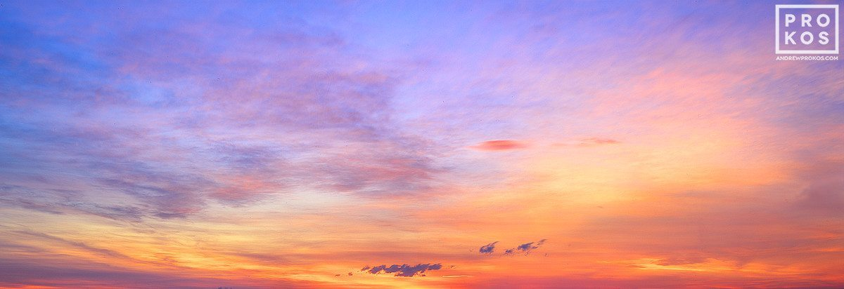 A panoramic view of the sky over Cape Cod at sunset